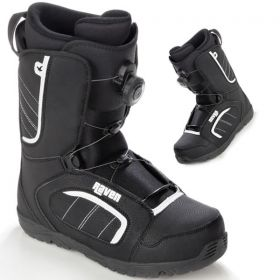 Boots Target Atop RAVEN snowboard
