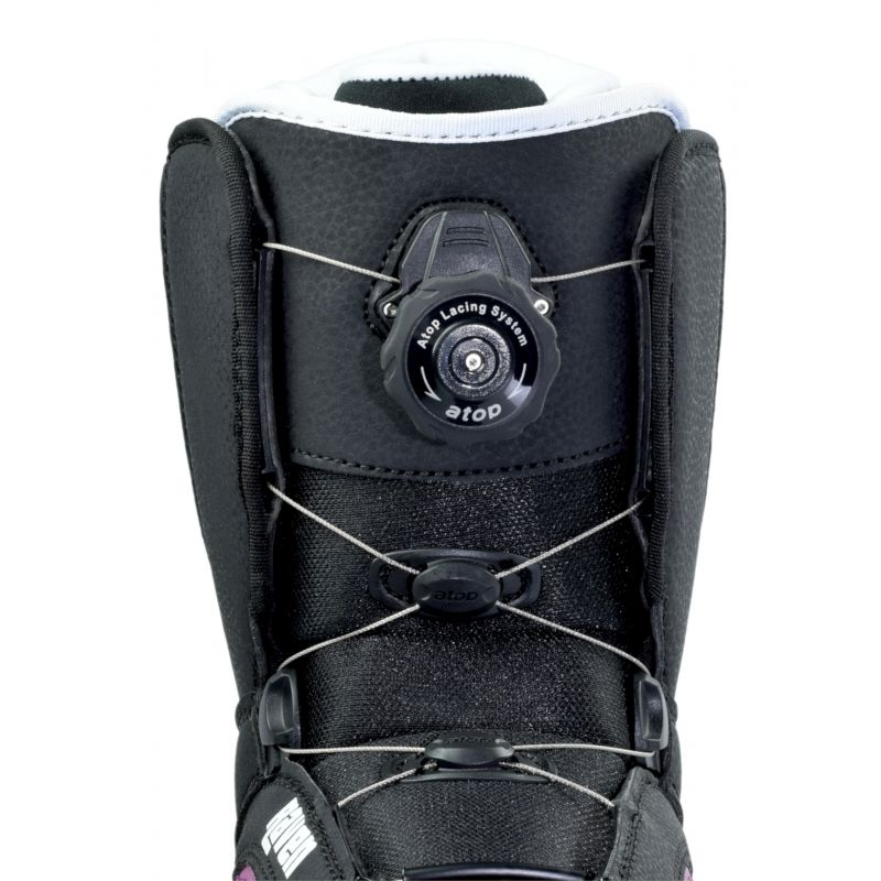 Boots Diva Atop RAVEN snowboard
