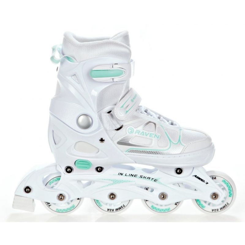 Roller patin a roulettes Spirit  taille ajustable et modulable RAVEN blanc menthe